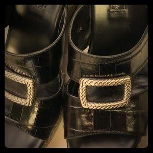 Black leather Brighton Wedges